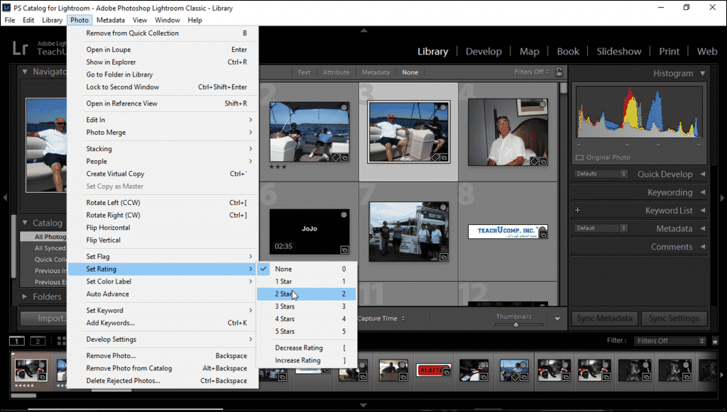 Ratings in Lightroom Classic CC- Instructions: A picture of a user applying ratings in Lightroom Classic CC using the Menu Bar.