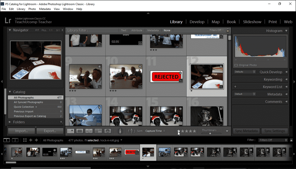 Ratings in Lightroom Classic CC- Instructions: A picture of a user applying ratings in Lightroom Classic CC using the Library module's toolbar.