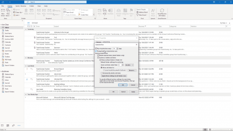 "AutoArchive in Outlook- Instructions: A picture of the ""AutoArchive"" dialog box, which lets you set the default AutoArchiving settings for your Outlook folders."