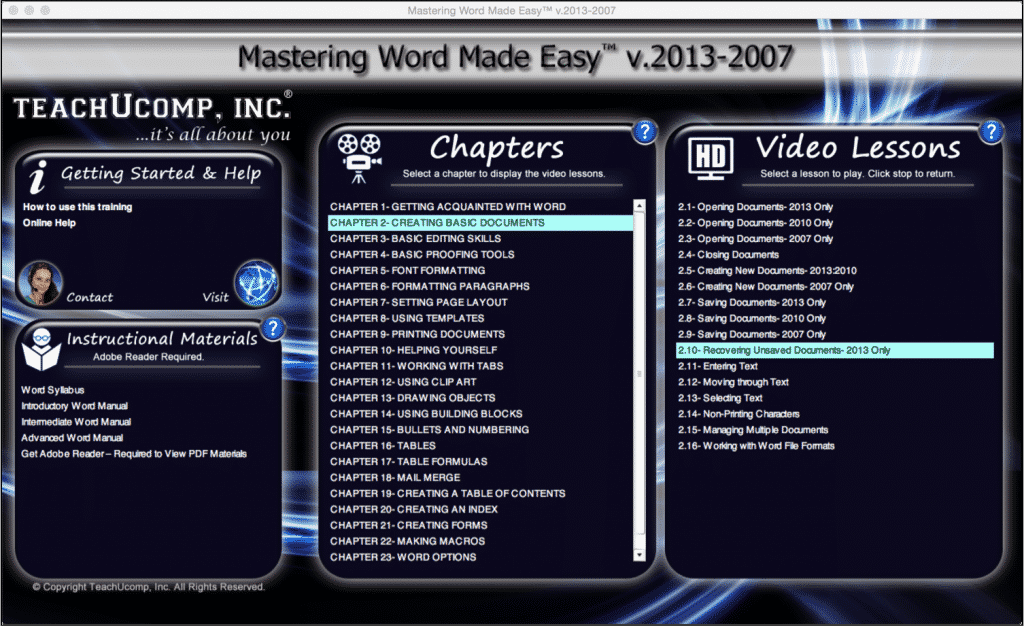 """Recover Unsaved Documents in Word 2013: A picture of the """"Mastering Word Made Easy v.2013-2007"""" training interface."""