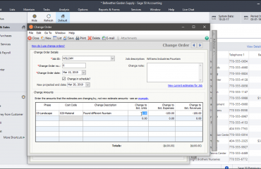 "Change Orders in Sage 50- Tutorial: A picture of a change order within the ""Change Order"" window in Sage 50 Premium Accounting."