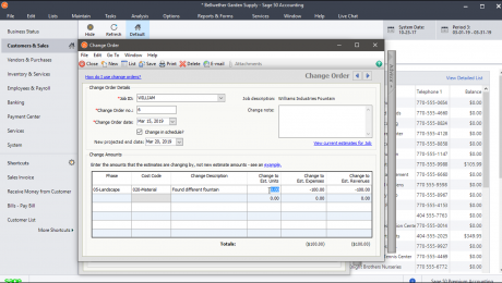 """Change Orders in Sage 50- Tutorial: A picture of a change order within the """"Change Order"""" window in Sage 50 Premium Accounting."""
