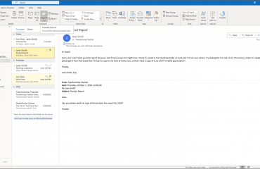 """Forward a Message in Outlook- Instructions: A picture of a user clicking the """"Forward"""" button to forward a selected message in Outlook."""