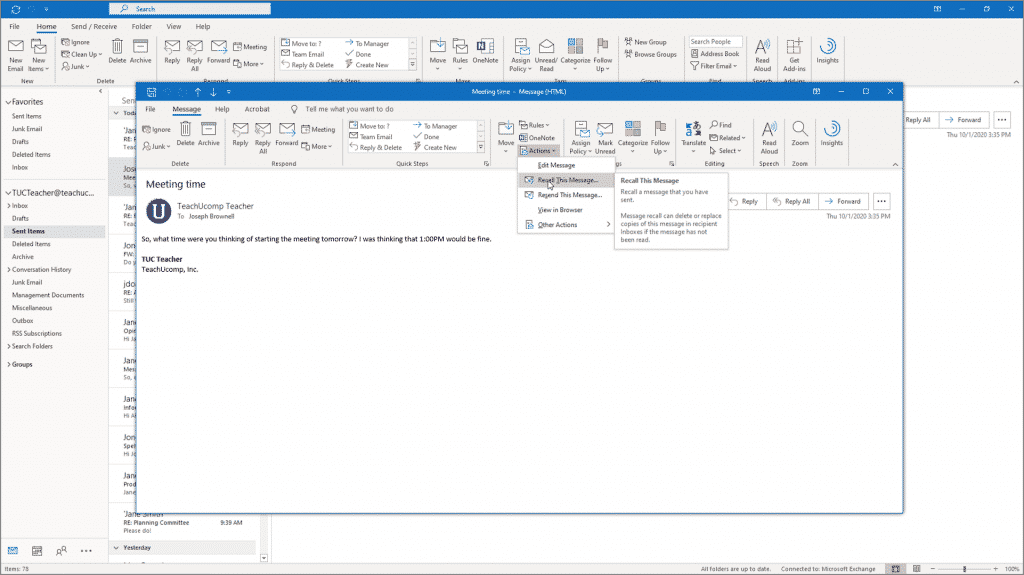 Recall a Message in Outlook - Instructions: A picture of a user trying to recall a message in Outlook for Microsoft 365.