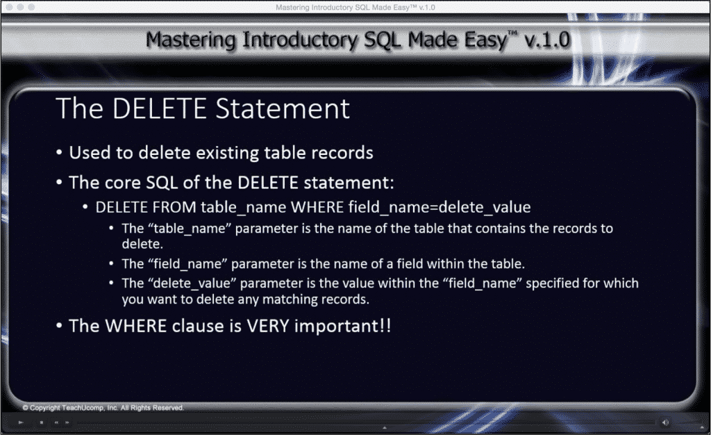 """The DELETE Statement in SQL- Tutorial: A picture from the video lesson """"The DELETE Statement"""" within the training interface of the """"Mastering Introductory SQL Made Easy v.1.0"""" SQL training course."""