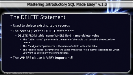 The DELETE Statement in SQL- Tutorial: A picture from the video lesson