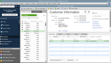 "Inactivate List Items in QuickBooks - Tutorial: A picture of inactivated list items within the ""Customers & Jobs"" list in QuickBooks."