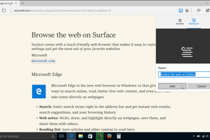 The Reading List in Microsoft Edge - Tutorial: A picture of a user adding a web page to the Reading list in Microsoft Edge.