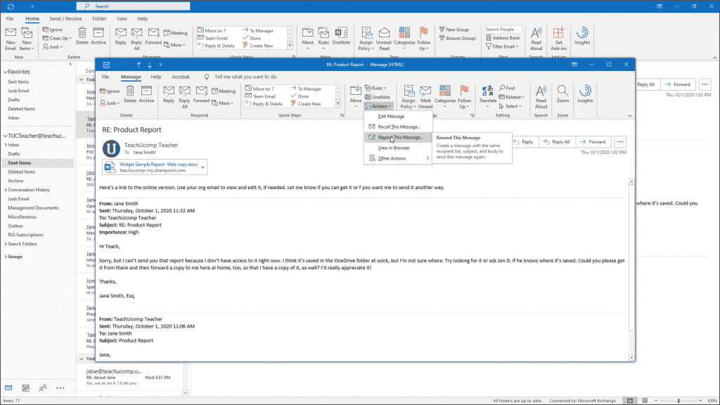 Resend a Message in Outlook: A picture of a user resending an email in Outlook.