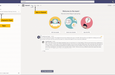 Overview of Teams and Channels in Microsoft Teams: A picture that shows the locations of teams, channels, and tabs within a channel in Microsoft Teams.