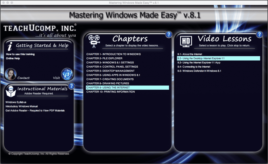 "Internet Explorer 11 in Desktop Mode- Tutorial: A picture of the training interface for ""Mastering Windows Made Easy v.8.1."""