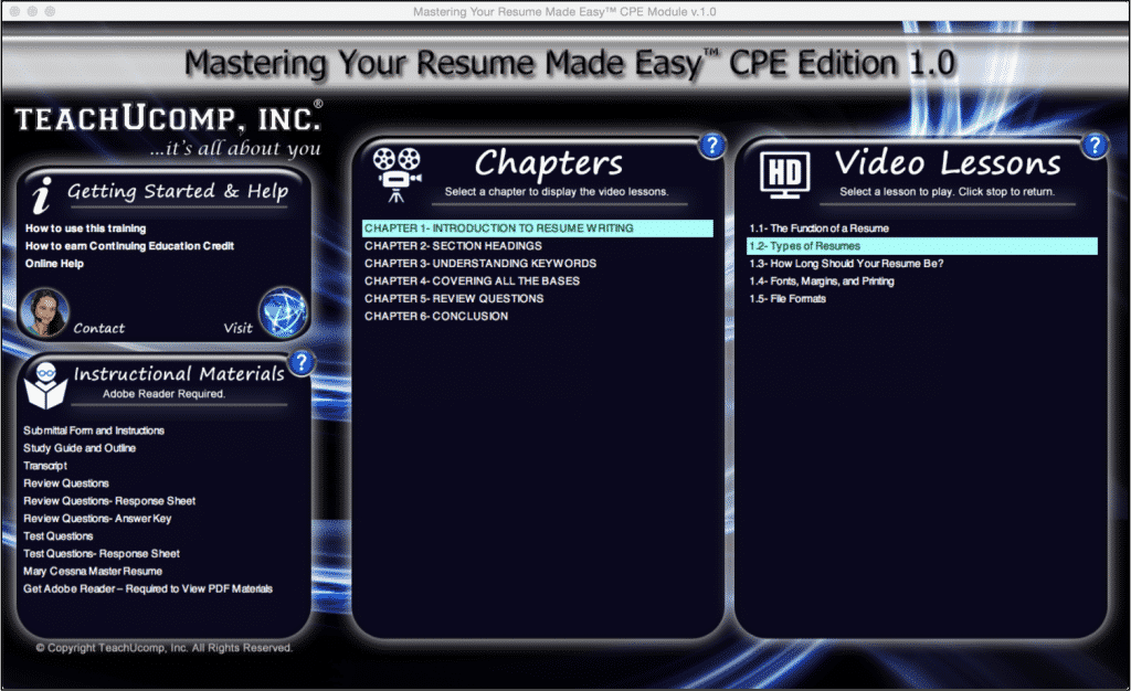"Types of Resumes- A Tutorial: A picture of the training interface from our resume-writing training; titled ""Mastering Your Resume Made Easy v.1.0."""