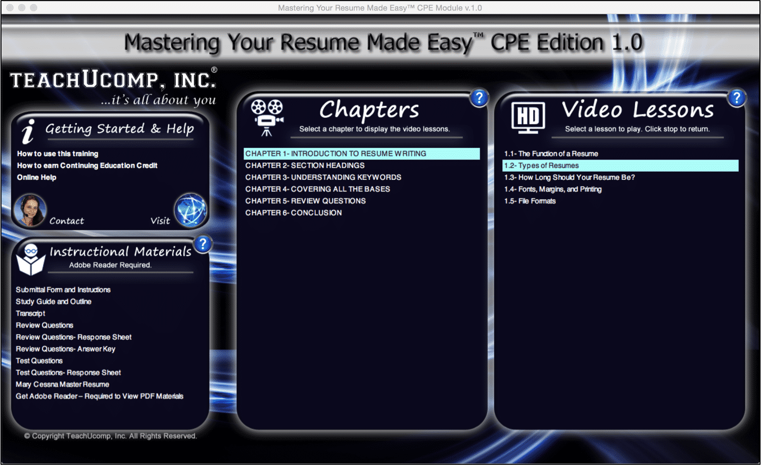 Types Of Resumes  A Tutorial: A Picture Of The Training Interface From Our  Resume