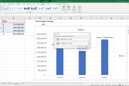 """Move a Chart in Excel- Instructions: A picture of the """"Move Chart"""" dialog box in Excel."""