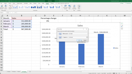 "Move a Chart in Excel- Instructions: A picture of the ""Move Chart"" dialog box in Excel."