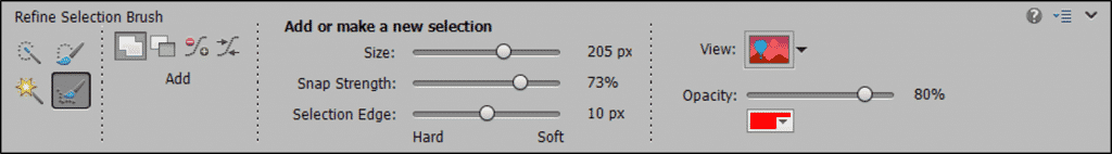The Refine Selection Brush Tool in Photoshop Elements: A picture of the Tool Options Bar in Photoshop Elements, showing the options for the Refine Selection Brush Tool.