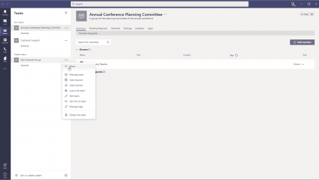 Reordering, Editing, Hiding, and Deleting Teams - Instructions: A picture of a user unhiding a hidden team in Microsoft Teams.