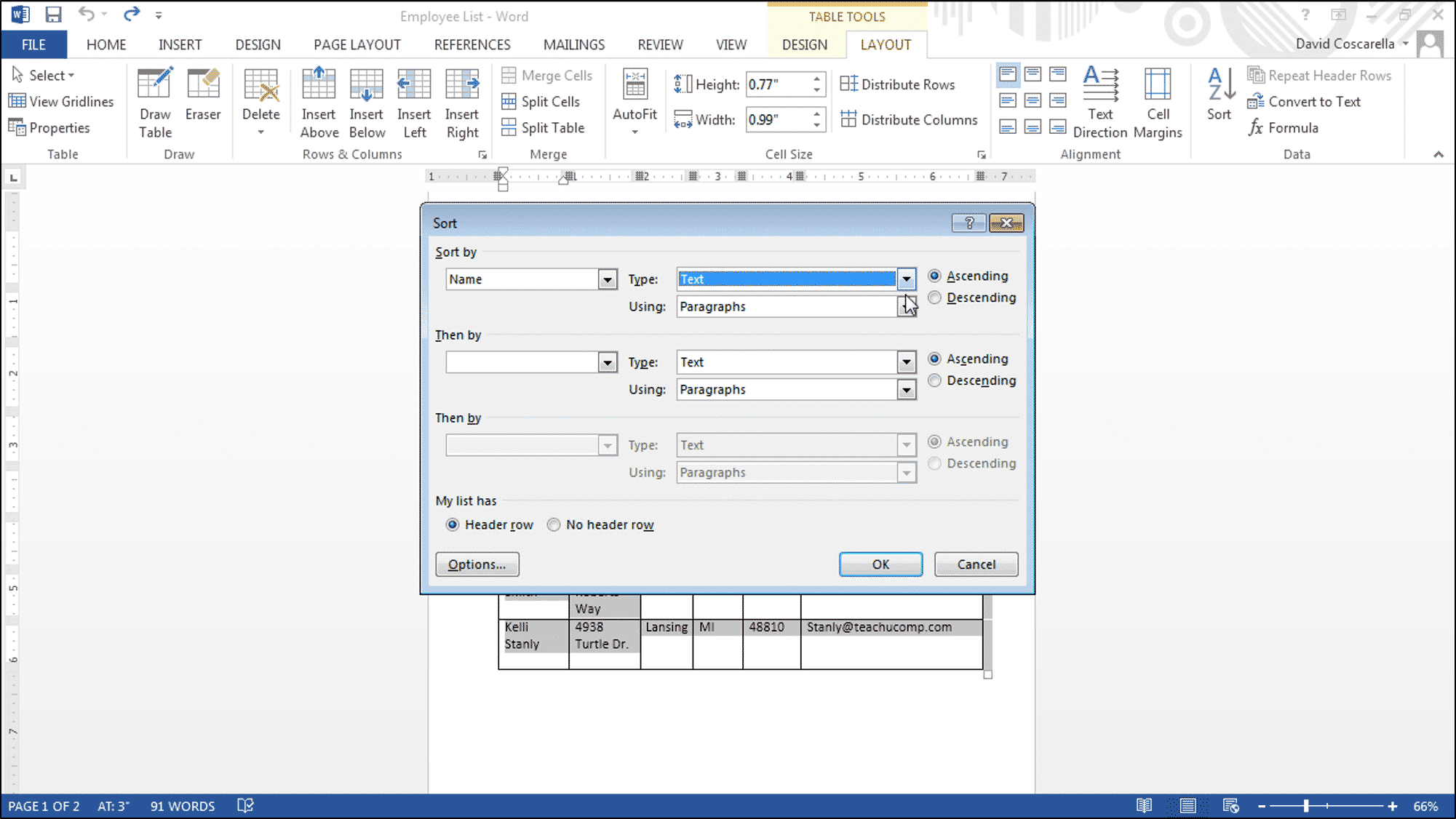 how to sort names alphabetically in ascending order in owrd