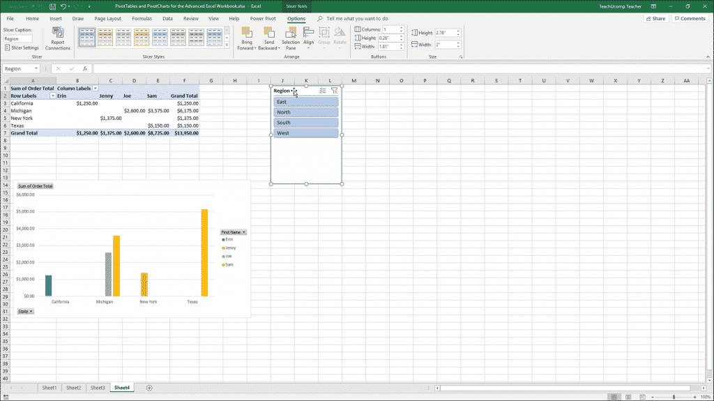 Insert Slicers and Delete Slicers in Excel: A picture of a slicer applied to a PivotTable in Excel.