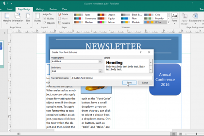 Custom Font Schemes in Publisher- Tutorial: A picture of the