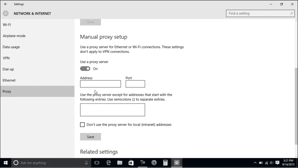 Proxy Settings in Windows 10- Tutorial: A picture of the proxy settings in Windows 10.