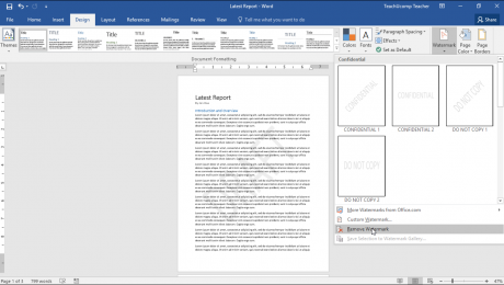 Remove a Watermark in Word - Instructions: A picture of a user removing a watermark from a Word document.