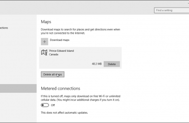 Offline Maps in Windows 10 - Tutorial: A picture of a user about to delete all offline maps in Windows 10.