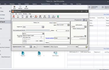 """Write Checks in Sage 50- Instructions: A picture of the """"Write Checks"""" window in Sage 50."""
