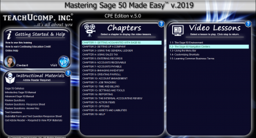 "Buy Sage 50 2019 Training: A picture of the ""Mastering Sage 50 Made Easy v.2019 CPE Edition v.5.0"" training interface for DVDs or digital downloads."