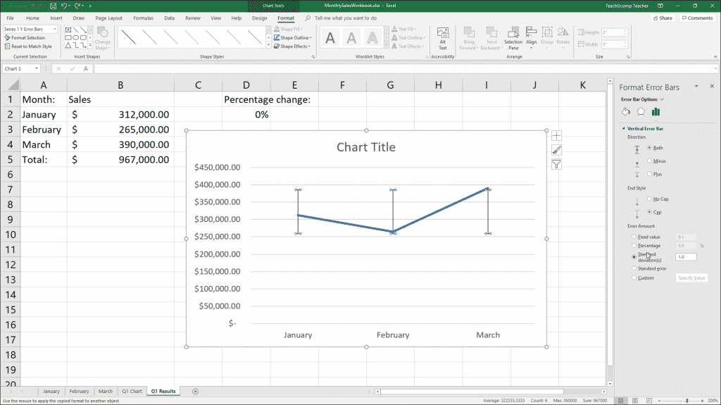 """Format Error Bars in Charts in Excel - Instructions: A picture of the """"Format Error Bars"""" task pane in Excel."""
