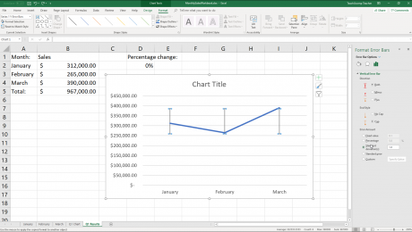 "Format Error Bars in Charts in Excel - Instructions: A picture of the ""Format Error Bars"" task pane in Excel."