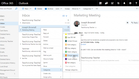 Categorize an Item in Outlook on the Web - Instructions: A picture of a user categorizing a Mail item in Outlook on the Web.