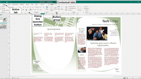 The Ribbon in Publisher - Instructions: A diagram of the Ribbon in Publisher. It shows an active tab, its button groups, a dialog box launcher button, and also the contextual tabs that may appear.