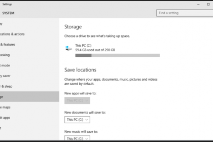Manage Storage Space in Windows 10 - Tutorial: A picture of the