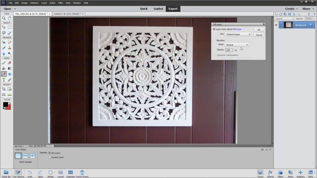 """Apply Fills in Photoshop Elements - Instructions: A picture of the """"Fill Layer"""" dialog box in Photoshop Elements."""