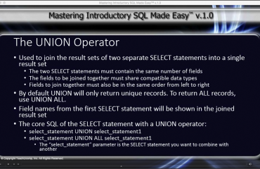 The UNION Operator in SQL- Tutorial: A picture from the video lesson for