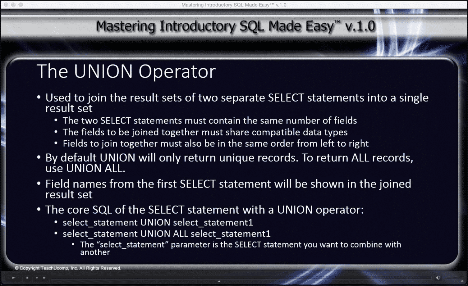The union operator in sql tutorial teachucomp inc the union operator in sql tutorial a picture from the video lesson for baditri Image collections