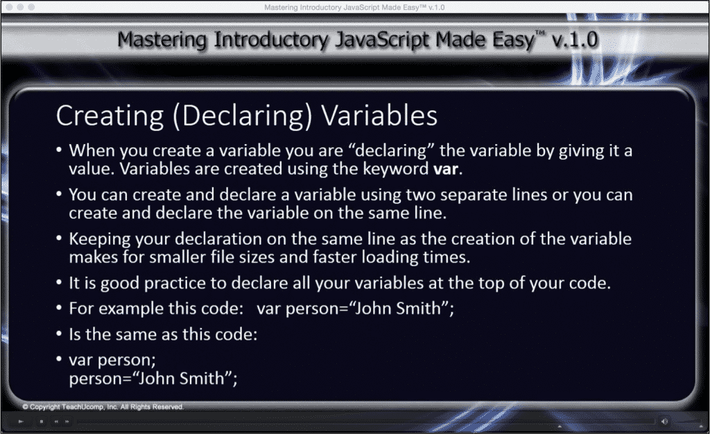 """JavaScript Variables- Tutorial: A picture from the lesson """"Creating (Declaring) Variables"""" within the """"Mastering Introductory JavaScript Made Easy v.1.0"""" tutorial."""