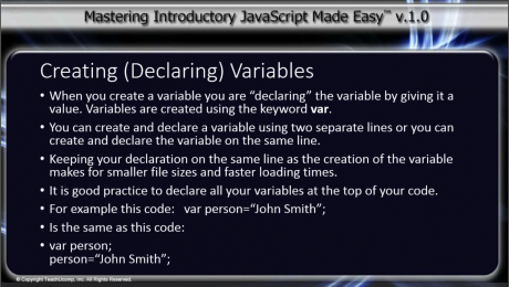 JavaScript Variables- Tutorial: A picture from the lesson