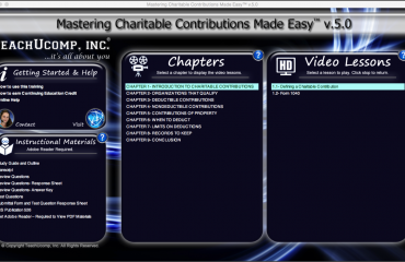 Buy Charitable Contributions Training at TeachUcomp, Inc.: A picture of the training interface for the