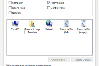 Change Desktop Icons in Windows 8- Tutorial: A picture of the