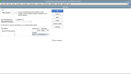 Create Other Charge Items in QuickBooks Pro- Tutorial: A picture of an Other Charge item within QuickBooks Pro.