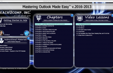 Buy Outlook 2016 Training - A picture of the Outlook 2016 training interface for digital downloads or DVDs of
