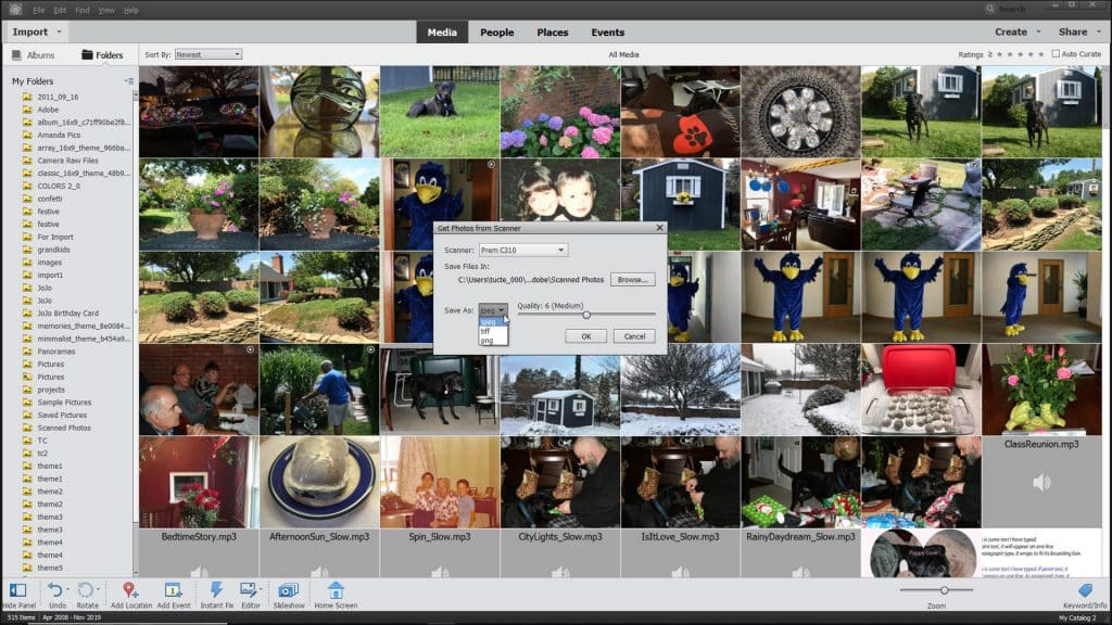 """Import Photos from a Scanner in Photoshop Elements- Instructions: A picture of the """"Get Photos from Scanner"""" dialog box in Photoshop Elements."""