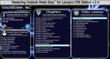 Buy Outlook 2016 Training for Lawyers - A picture of the Outlook 2016 for lawyers training interface for digital downloads or DVDs of