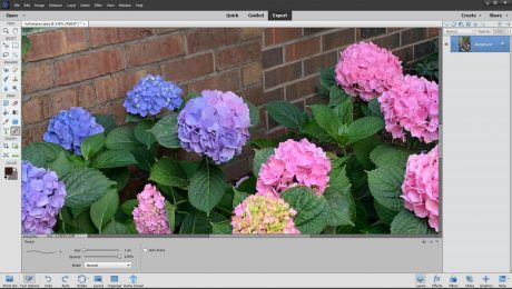 The Pencil Tool in Photoshop Elements - Instructions: A picture of a user drawing a line by using the Pencil Tool in Photoshop Elements.
