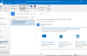 Open a Group in Outlook 2016 - Tutorial: A picture of a user opening a group in Outlook 2016.