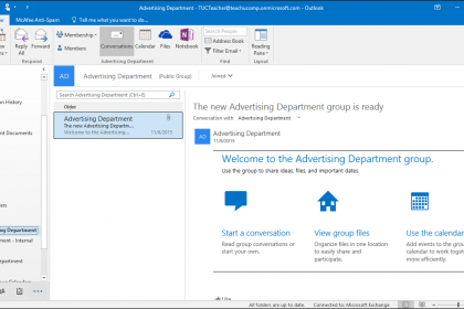 Open a Group in Outlook 2016 - Tutorial - TeachUcomp, Inc