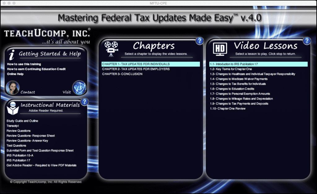 Buy Federal Tax Updates Training At Teachucomp Inc