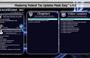 Buy Federal Tax Updates Training at TeachUcomp, Inc.: A picture of the training interface for the